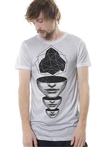Herren Psychodelisch Grafik T-Shirt Superhirn Abgrund Druck Stadt Shirt - in Weiß - Large