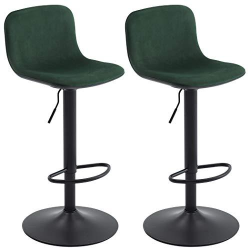 2x Sgabelli da bar in velluto regolabile in altezza girevole design unico selezione colore Duhome 828, colore:verde scuro, materiale:velluto