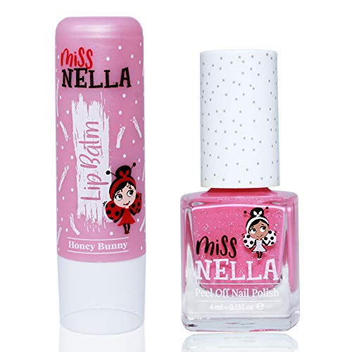 Miss Nella Nail Polis + Lip Balm set- Special Pink Glitter Nail Polish for Kids- WATERMELON POPSICLE, with Peel-off, Water Based & Odour Free Formula + HONEY BUNNEY pink hypoallergenic lip balm