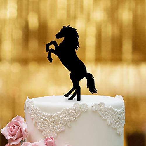 Dankeskarte.com Decoración para tartas, diseño de caballo – cristal acrílico negro – Decoración para tartas, decoración para tartas, decoración para tartas, tarta de cumpleaños, tarta de cumpleaños