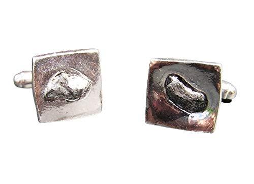 Juego de gemelos de plata maciza con diseño de cráter con meteorito de hierro, cuadrados.