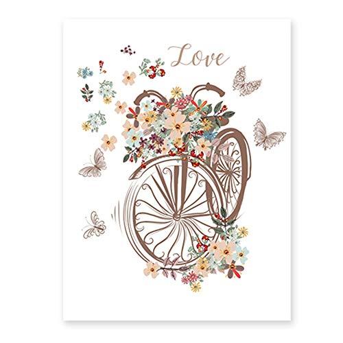Xyanzi Película para Ventana de decoración, Película de vidrieras Bicicleta, Flores, Mariposas Patrón Decoración Arte Etiqueta de la Ventana Película de privacidad Static Cling