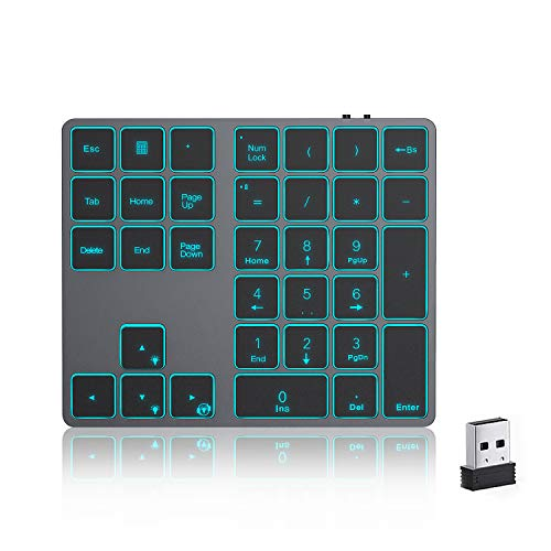 USB Wireless Backlit Numeric Keypad, Jelly Comb Portable Rechargeable Number Pad with Full 34 Keys for Laptop, PC, Computer with Windows System, 7 Colors Backlit, Space Grey
