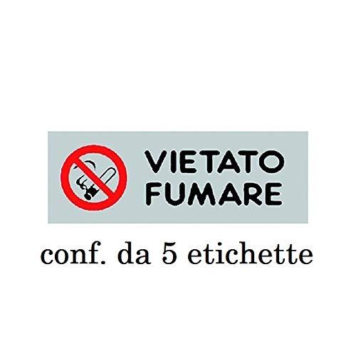 """5 ETICHETTE ADESIVE"""" VIETATO FUMARE"""" 15900010 DIVIETO INDICAZIONE"""
