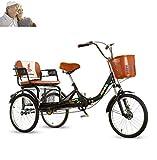 Triciclo Adulto 20 Pulgadas Anciano Bicicleta de 3 Ruedas para Padres e Hijos...