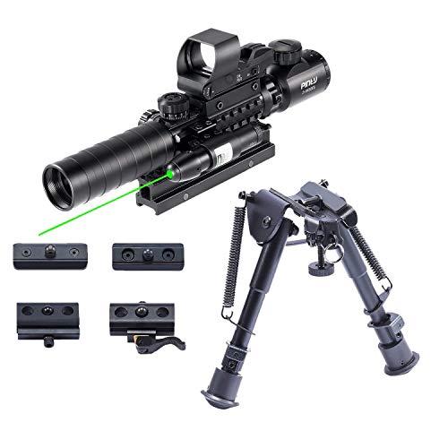 Pinty Rifle Scope 3-9x32 Rangefinder Illuminated Reflex Sight 4 Reticle Green Dot Laser Sight & 6 inch to 9 inch Aluminum Rifle Bipod Works with Picatinny MLOK KeyMod and QD Mounting