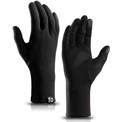 TRENDOUX Touch Screen Gloves, Windproof Touchscreen Glove Men Women Texting Smartphone - Anti-Slip - Long Sleeve - Hands Warm in Winter Cold Weather Sports Running Cycling - Black - XL
