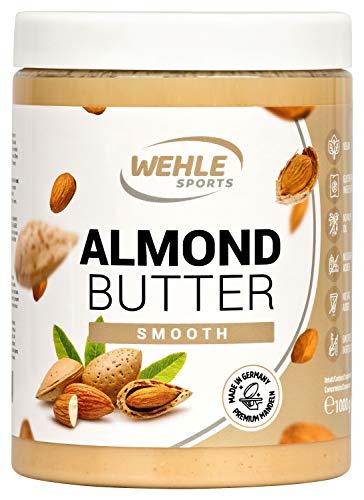 Mandelbutter – Premium Mandelmus – Wehle Sports Almond Butter natürliches Nussmus veganer/ vegetarischer Brotaufstrich für Smoothies, Backen, Snack (1KG)