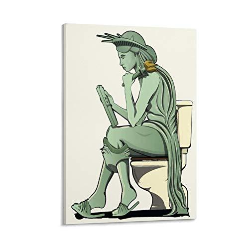 DRAGON VINES Póster abstracto divertido de la estatua de la libertad en el baño, decoración de la pared del dormitorio, 40 x 60 cm
