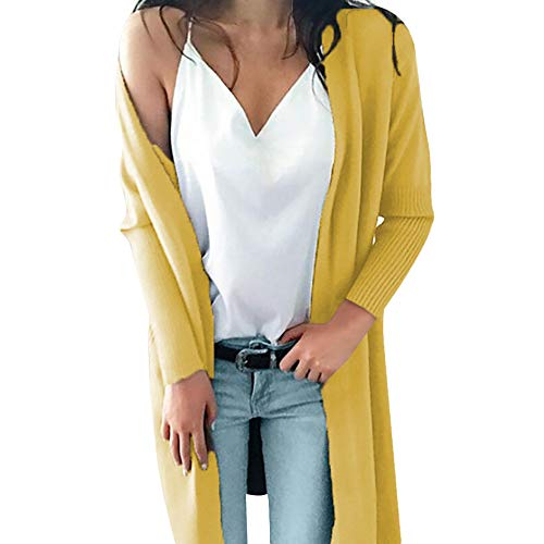 REALIKE Damen Elegant Einfarbig Taschen Langarm Strickjacke Vintage Patchwork Slim Gestrickt Mäntel Casual Lang Coat Mode Basic Jacket Trenchcoat Outwear Trench Winterjacke (XL, Gelb)