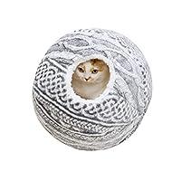 ペットベッド 毛系だまベッド 猫ハウス かわいい 猫小屋 子犬 滑り止め ぐっすり眠る 柔らか あったか 保温防寒 休憩所 多機能 おもしろい 通年タイプ ボール型 入り口直径14CM 洗える 37×37CM