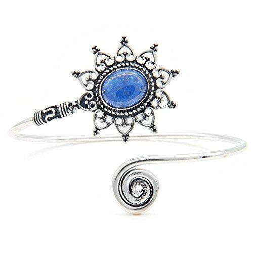 mantraroma Armreif Armband versilbert silbern Lapis Lazuli blau (922-05-024-06)