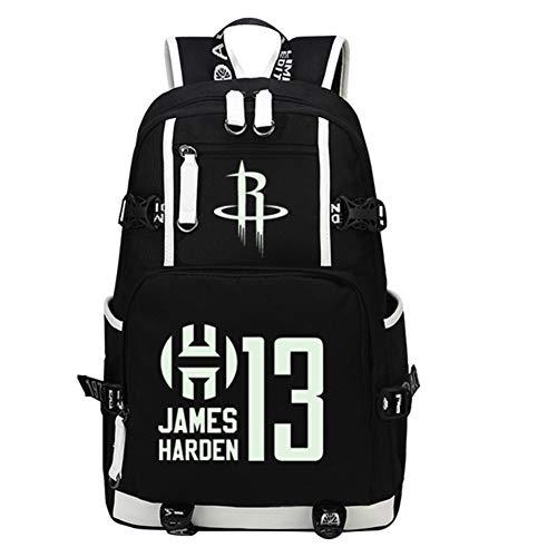 13# Harden Rockets Sport Zaini da pallacanestro Zaini per uomo Zaino leggero da viaggio Laptop Daypack Resistente all'acqua Moda Zaino da escursionismo, Ergonomico-B