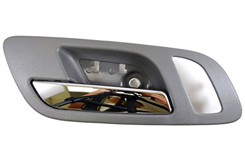 PT Auto Warehouse GM-2546MGFL2 - Inside Interior Inner Door Handle, Gray (Titanium) Housing with Chrome Lever - with Memory and Heated Seat Hole, Driver Side Front