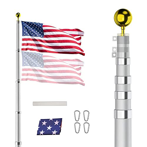 """NA 25FT Telescoping Flag Pole Kit, Heavy Duty Aluminum 16 Gauge Tangle Free Spinning US Flagpole Kit with 3""""x5"""" USA Flag(Sewn Stripes - UV Protection) for Residential&Commercial&Garden"""