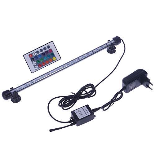 UEETEK Luz del acuario LED Tanque de peces Color de la luz que cambia sumergible Luces LED de cristal bajo el agua Luces con control remoto 38cm (Enchufe de la UE)