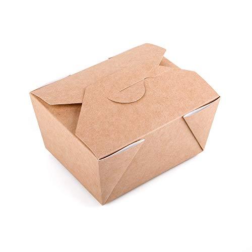 50 Stück Kraftpapier Lebensmittelbehälter Box Takeaway Fast Food Einwegboxen Auslaufsicher (50, 600 ml)