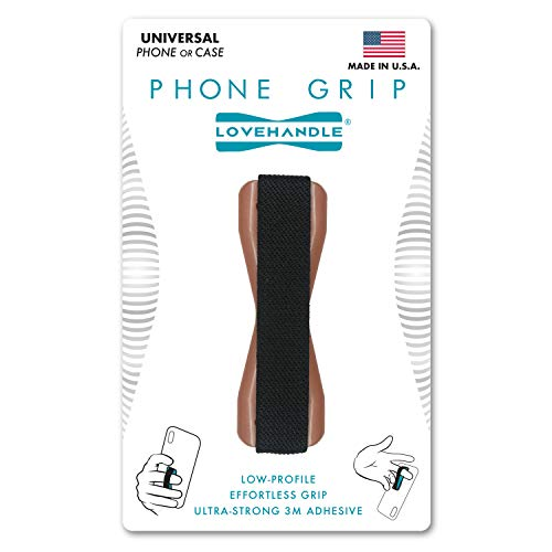 LoveHandle Phone Grip for Smartphone and Mini Tablet - Mauve Rose Base with Black Elastic Strap (LH-01Rose1)