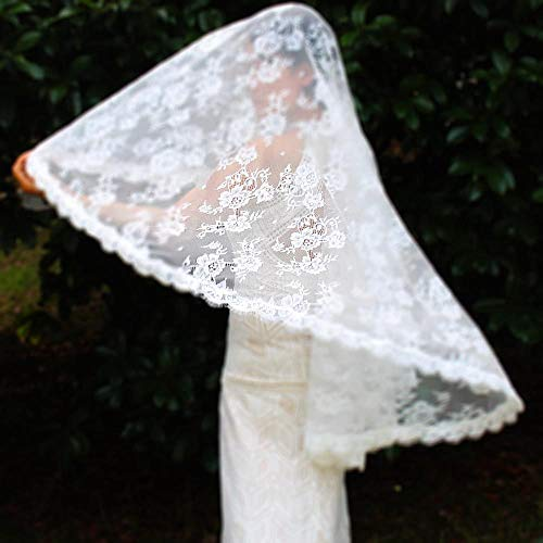 WFSDKN Bruidssluier, elegant, kort, bloemen, kant, bruidsjurk, bruidsjurk zonder kam, bruiloftsaccessoires