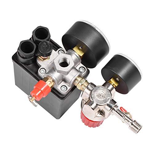 Interruptor de presión del compresor de aire, válvula de seguridad de la válvula de salida cuadrada del compresor de aire, regulador de la válvula de Control 95-125PSI 220V 20A con medidores