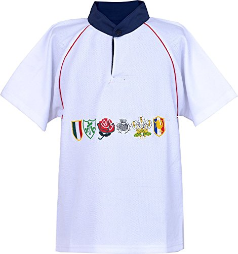 Activewear Kinder 6 Nation Rugby-Shirts, Größe 3/4Y bis 11/12 Jahre Gr. L 7/8 Jahre, weiß