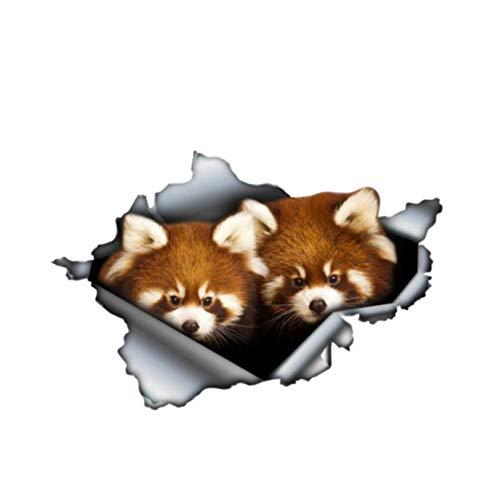 GDYL Etiquetas Engomadas del Coche Divertido Panda Rojo, Calcomanía De Metal Rasgada,3D, Gráfico para Mascotas, Pegatina para Coche, Accesorios para Coche, Calcomanía De Vinilo, PVC, 13 Cm X 9 Cm
