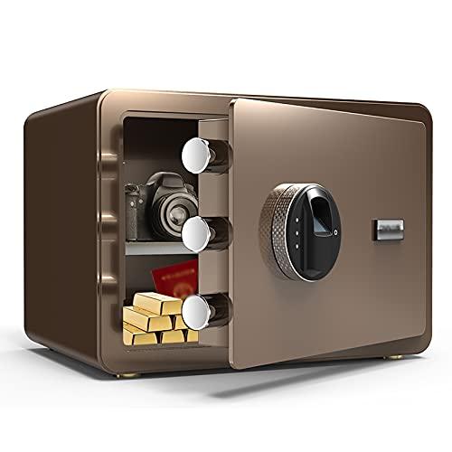 VIY Caja de Seguridad Biométrica de Huellas Dactilares, Caja de Seguridad para Pistola, Desbloqueo Rápido de Huellas Dactilares, Caja Fuerte Portátil para Dinero(350 * 250 * 250 (mm)),Marrón