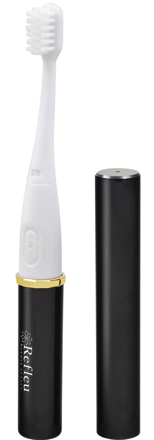 展望台スマッシュ主観的ドリテック 【コンパクトなアルミボディ/バックやポーチにすっきり収まるスリムサイズ】 音波式 電動歯ブラシ ブラック TB-306BK