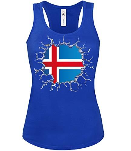 Island Iceland Fan t Shirt Artikel 5719 Fuss Ball Tank Top für Mädchen EM 2020 WM 2022 Trikot Look Flagge Fahne Team Frauen Damen World Cup Girly XL