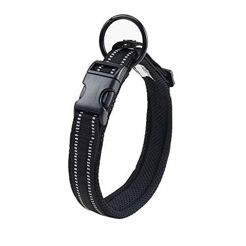 Kaka Mall Hundehalsband Verstellbare Nylon Hunde Halsband Atmungsaktives 3M Reflektierend Halsband(M,Schwarz)