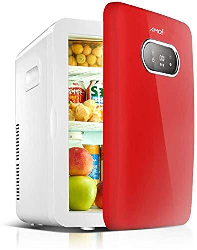 Dljyy Mini-koelkast, 20 liter, draagbare mini-koelkast, koeler en warmer, superstil in de auto, voor in de slaapkamer, op kantoor rood