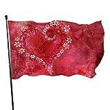 smartgood Liebe Herz Blume rote Fahne 3x5 Ft Outdoor dekorative Banner außerhalb hängen Standard...