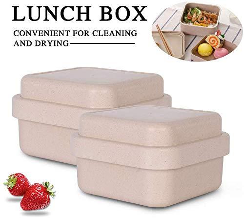 PLEASUR Tragbare Lunchbox Bambusfaser Blau Rechteckig Mode Sushi Abendessen Box mit Deckel Auslaufsicher Lebensmittelbehälter Geschirr (Beige)