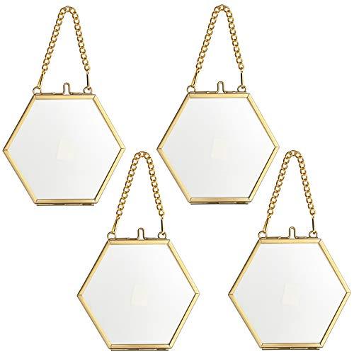 SUMTREE 4 Pcs Mini-Hexagon Bilderrahmen aus Metall und Glas,Hängende Glas Fotorahmen,Geometrische Ornament Pflanze Probe Clip,Für gepresste Blumen,Fotos(Golden,5cm)