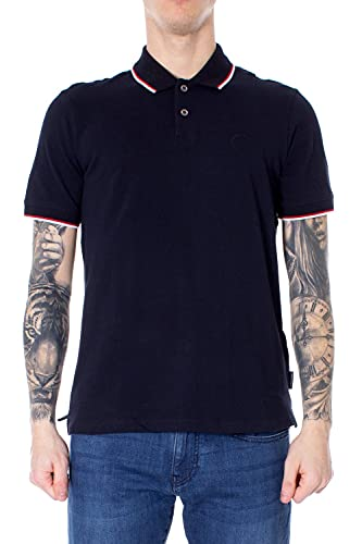 A|X Armani Exchange Men's Short Sleeve Jersey Knit Polo, Navy Blue, XXL