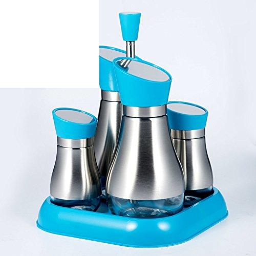 MyitIAN keuken levert kruidenpotjes kruiden glazen potjes roteren de olie pot azijn pot kruiden fles combinatie draagbare apothekers potjes C