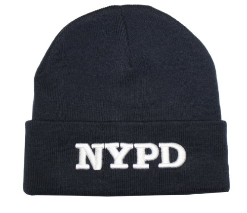NYPD Beanie Winter Hat New York Police Department Navy White