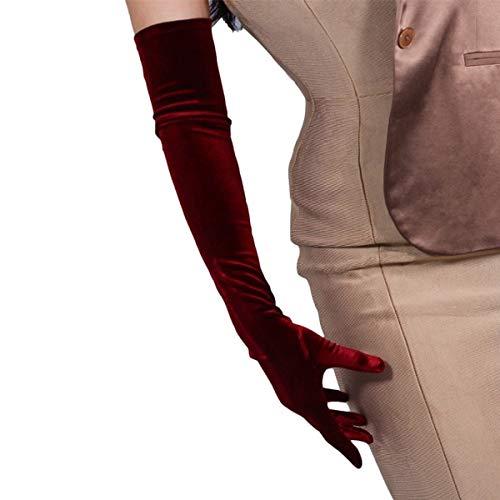 DooWay Velvet Gloves Opera Elbow Long Stretchy Dark Red Burgendy Oxblood Touchscreen