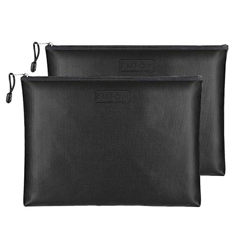 Fireproof Document Bags 2 Packs,13.4x9.8 Inches Waterproof and Fireproof Money Bag ,Fireproof Safe Storage Pouch with Zipper for A4 Document Holder,File,Cash and Tablet