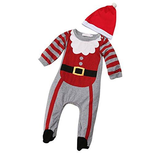 CHENGYANG Neonata Ragazze Ragazzi Pagliaccetto Manica Lunga Costume Santa Babbo Natale con Cappello