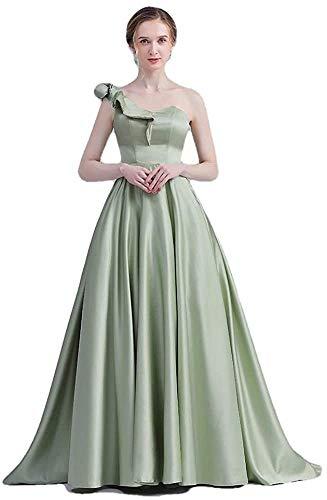 Vestido de Noche Banquete Elegante un Hombro Satén Vestido Largo de Fiesta Formal-Como Se Muestra_16, LIFU