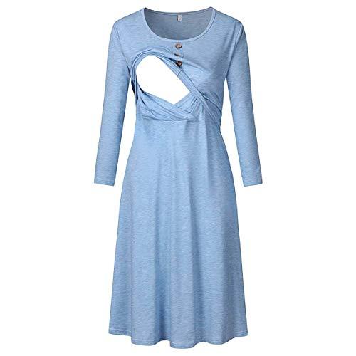 LLSS Camisón de Lactancia para Mujer Pijama de Maternidad de enfermería, Cuello Redondo Moda Ropa de Dormir Manga Larga Vestido Ropa de Dormir