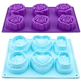 Moldes de silicona Molde de rosas Moldes de flores de silicona Molde de jabón Forma de flor de rosas Moldes de silicona para hornear Molde para hornear Pastel Jabón de gelatina Pudín de pan Caramelo