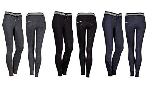 netproshop Damen Schlüpf Reithose im Jogging-Look mit Silikon Vollbesatz Gr. 36-46, Groesse Damen:38, Farbe:Schwarz