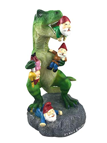 By Mark & Margot - Outdoor Garden Gnomes Picnic Sleeping Cat Statue - Beautiful Funny Novelty Gift (One Size, Dinosour Gnomes)