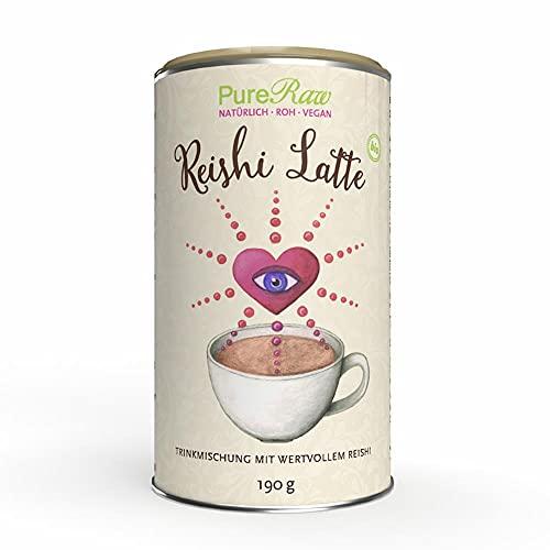 Reishi-Latte-Pulver (Bio Vegan Rohkost) Vitalpilz-Lucuma-Trinkmischung Kaffee-Ersatz Pilzpulver-Getränk - Koffeinfreie Instant-Pilzkaffee-Alternative Löslich - Mushroom Powder Drink | PureRaw 190g