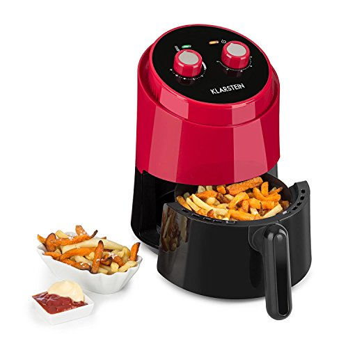 Klarstein Well Air Fry - Heißluftfritteuse, Fritteuse, fett-frei Frittieren, Backen, Grillen, Rösten, 1230 Watt, 1,5L Füllkapazität, Überhitzungsschutz, analoges Bedienfeld, rot