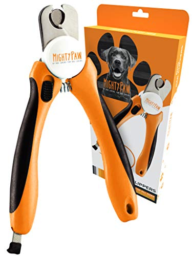 Mighty Paw Dog Nail Clippers | Pet Nail Trimmers & Nail File Set Includes a Built-in Safety Guard to Avoid Cutting Too Short. Stainless Steel Blade & Ergonomic Handle. Vet Recommended. (Orange)