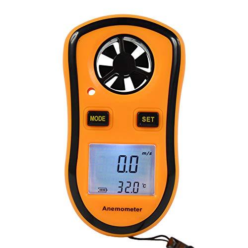 Pocket Digital LCD GM8908 Anemometer Windgeschwindigkeit Temperaturmessung Messgerät Luftströmungsgeschwindigkeit mit Hintergrundbeleuchtung Einfach abzulesen Batteriebetrieben