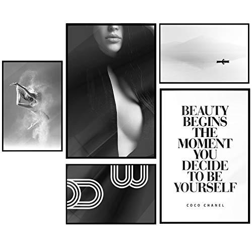 murando Poster 5er-Set Bilder Kunstdruck Posterset Plakat Wandbild Print Kunstposter Wandposter Wandbild Wohnung Wanddeko Designschwarz weiß Frau Dance Beauty Coco Chanel Abstrakt Landschaft Spruch